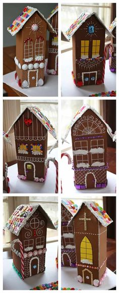 Recycled Village of Gingerbread Houses by Amanda Formaro of Crafts by Amanda making these next year Christmas Arts And Crafts, Christmas Tea, Christmas Gingerbread, Gingerbread Houses, Christmas Activities, Christmas Projects, Holiday Crafts, Christmas Decorations, Milk Carton Crafts