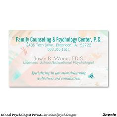 School Psychologist Private Practice Business Card by schoolpsychdesigns of Zazzle.com (template-ready to customize)