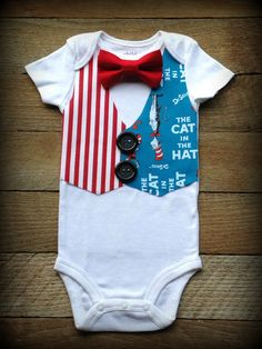 Cat in the Hat Inspired Boys Vest and Bowtie by WillowRayneDesigns, $23.00