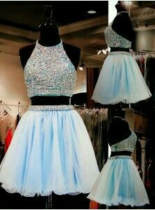 Formal Prom Dresses, light sky blue homecoming dresses tulle homecoming dress 2 pieces prom dress two piece cocktail dresses sweet 16 gowns Brickell Bridal Light Blue Homecoming Dresses, Backless Homecoming Dresses, Cute Prom Dresses, Prom Dresses For Teens, Pretty Dresses, Prom Gowns, Quinceanera Dresses, Short Sweet 16 Dresses, Short Sparkly Dresses