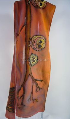 "Autumn Silk Scarf. Owl Silk Scarf. Free Gift Wrapping. 8"" x 52"" Hand painted silk scarf. handmade silk scarf. silk scarves handpainted"