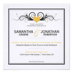 Yellow Heart Black Swirls White Wedding Invitation