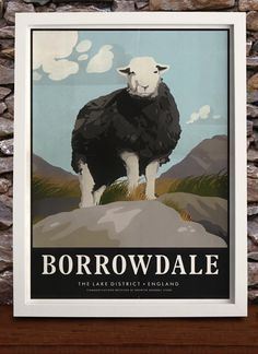 A modern interpretation of a vintage travel poster of beautiful Borrowdale and one of it's sheep in the English Lake District.   This print can be purchased from our online store at https://www.connellandtodd.com/p/borrowdale-print #borrowdale #lakedistrict #vintageposter #vintagetravelposter #souvenir #weddinggift #birthdaygift #cumbria