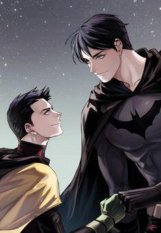 Dick Grayson and Damian Wayne Batman and Robin Nightwing, Batgirl, Catwoman, Batman Y Superman, Batman Robin, Batman Arkham, Batman Art, Damian Wayne, Jason Todd