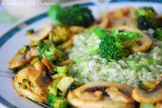 Brokkoli-Risotto mit Butter-Champignons  Ein Blog mit Rezepten für die vegetarische Studentenküche - Bunt, gesund und schnell kochen
