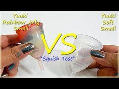 "Yuuki Rainbow Lg vs Yuuki Soft Lg ""Squish Test"" - Menstrual Cups . . #mycupsonfleek #menstrualcups #menstrualcup #menstruationmatters #rumps #periodpositive #zerowaste #menstrual #yuukiCup #ditchthedisposables"