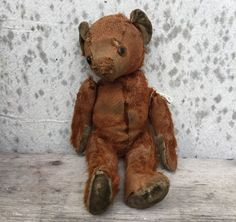 One Antique Well Loved Teddy Bear . Love by AntiqueJewelrySupply