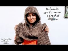Bufanda con Capucha a Crochet Paso a Paso (al tamaño deseado) Knitting PatternsKnitting FashionCrochet BlanketCrochet Ideas Crochet Adult Hat, Crochet Cardigan, Crochet Scarves, Crochet Shawl, Crochet Clothes, Crochet Stitches, Crochet Patterns, Crochet Gifts, Diy Crochet