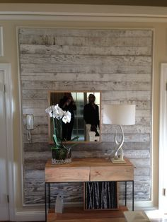 Reclaimed wood stick on panels diy cool ideas for Wallpaper for wall behind bed
