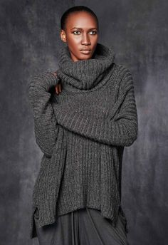 Funnel-Neck Cropped Sweater