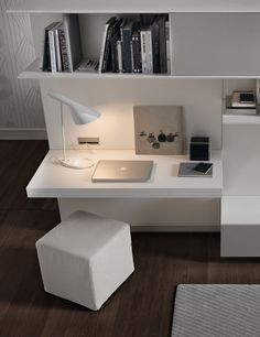 Chic workspace with a built-in desk and cube ottoman for the living room - Decoist Desk Wall Unit, Built In Wall Units, Living Room Wall Units, Built In Desk, Living Room Modern, Modern Desk, Living Room With Desk, Bedroom Modern, Computer Desk In Bedroom
