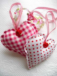 shabby chic ornaments christmas   Shabby Chic Decorative Red Gingham, Polka Dot, Floral Hanging Hearts ...