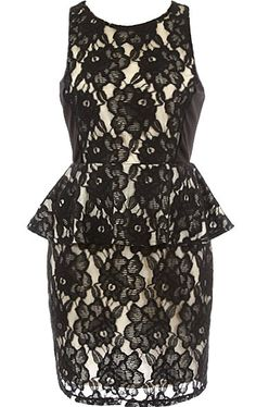 Night Stalker Dress: Features an exotic black floral lace shell with contrast liner for pop, sleek side panels, flirty peplum waist for instant polish, and a centered rear zip closure to finish.