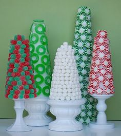 Candy Accent pieces - colorful and unique. Make amazing displays.. and with so many types of candy... colorful, colorful!