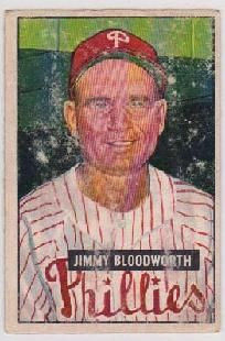 Jimmy Bloodworth original 1951 Bowman Baseball Card PHILADELPHIA PHILLIES vintage *FREE SHIPPING!*