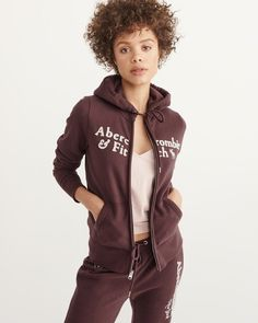 A&F Women's Heritage Logo Full-Zip Hoodie in Burgundy - Size XL