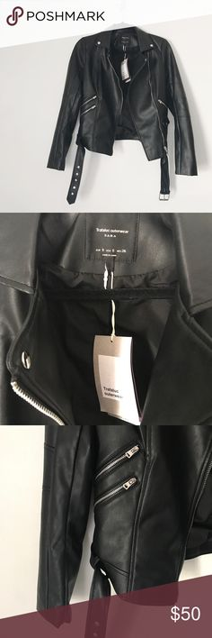 NWT Zara Faux Leather Moro Jacket Lovely black faux leather moto style jacket from Zara Traf. Silver hardware. Size small. New with tags, great condition. No trades or try ons! Zara Jackets & Coats