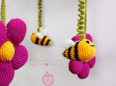 Crochet baby mobile - bees and flowers - pink