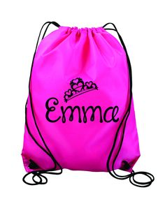 7d750a450bf56f Items similar to Princess Personalized Monogrammed- Kids drawstring bags