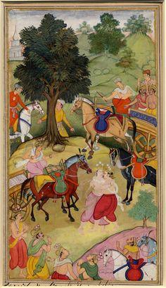 Yudishthira wrestling with Karna. From the Razmnáma. (Acc to register, Yudishthira and Arjuna embracing). On paper.