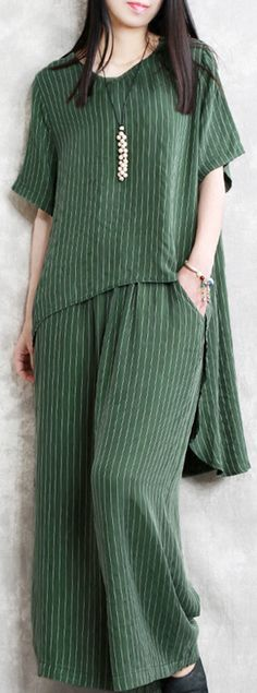 new green silk fashion two pieces design asymmetric pullover tops and elastic waist wide leg pants