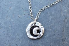 Crescent moon and star Necklace - handmade fine silver freeform charm via NightOwlJewelry