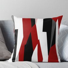 'red black and white abstract' Throw Pillow by Christy Leigh