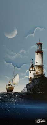 Gary Walton original 'Tug under Sail'