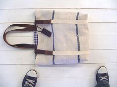 recycled antique linen carry all/tote bag via Treesizeverse's Etsy Shop
