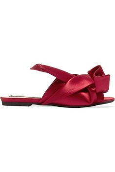 """""""Color-pop satin may be worn for special occasions, but works best when adding a flash of unexpected shine to denim and structured suiting,"""" says PORTER. N°21's coveted sandals are crafted from glossy claret satin that's folded into an oversized knot - a brand signature. Slip yours on with light-blue jeans, rolling the hem to keep them in focus."""