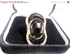 French Sterling Silver Jet Glass Rhinestone Ring by OurBoudoir, $106.20