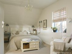 he master bedroom in Marie and Alan McMillen's cottage in Belfast. Home Bedroom, Master Bedroom, Bedroom Decor, Bedroom Ideas, Master Suite, Cottage Interiors, Country Interiors, Geometric Decor, Cottage Kitchens