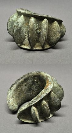 Gabon | Large Kota currency anklet; bronze with patina. Highly prized, especially among the Mbede | Sold