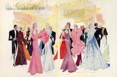 Benigni 1937 Albert Hart, Worth, Eva Lutyens, Hayward, Piguet Evening Gown,,How wonderful is this era !