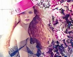 Lily Nova in a Dolce & Gabbana couture dress and Philip Treacy Boater Hat photographed by Sam Bisso in 'Flower Child', January Women's Dresses, Couture Dresses, Next Fashion, Kids Fashion, Redhead Models, Ralph Lauren, Lace Flowers, Flower Fashion, Pink Lace