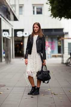 What Wear - Johanna Falkenby Image courtesy of Stockholm Street Style Biker Boots Outfit, Combat Boot Outfits, Leather Jacket Outfits, Leather Dresses, Leather Jackets, Combat Boots Style, Flat Boots, Stockholm Street Style, Vogue Uk