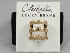 Cleobella for Lucky Brand Gold Floral Cutout Etched Split Band Ring 7 JLRY1593 #LuckyBrand