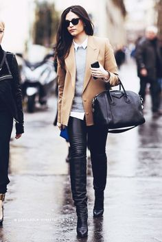 Fashion -- Autumn Style Inspiration : Leather Weather--a slideshow compilation of 15 ways to style leather pants & leggings from the best street style looks