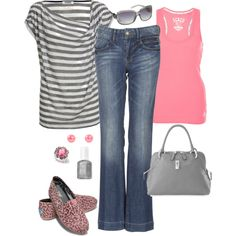 "I like - ""Watermelon and Gray"" by pamnken on Polyvore Sweater Weather, New Outfits, Casual Outfits, Summer Wear, Virtual Closet, Passion For Fashion, Gray Color, Pink Color, Pink Grey"