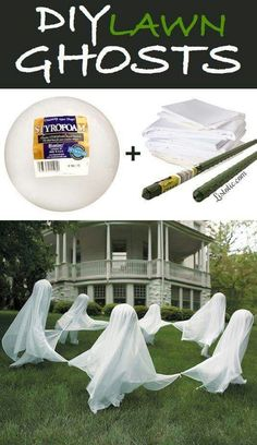 Drape sheets over strofoam balls staked with metal stakes, for fun tie corners of sheets so ghosts appear to be running