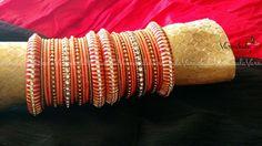RED ORANGE & GOLD   Handmade Silk Thread Woven Bangle by Varnakala