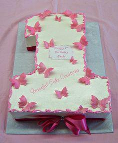 Pink Butterflies 1st Birthday Cake