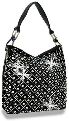 Crystal Rhinestone Black Fashion Shoulder Bling Handbag Purse Sparklebags