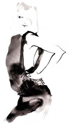 #OHGUSHI #Fashion_illustration #Cosmetic #portrait_painting #watercolor #india_ink #japanese_ink #Bijinga #墨絵 #水墨画 #美人画
