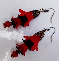 Red and Black Elegant Lucite Flower Earrings by BlueLicorice, $12.00