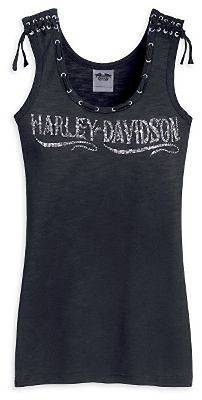 Harley Davidson Womens Rhinestone Laced Tank Top Shirt NEW