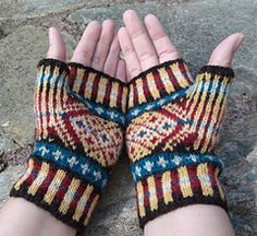 Fair-isle handknit mitts pattern with gore thumb.
