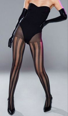 Nasty Gal Sheer Genius High-Waisted Striped Tights - See more tights at www.fashion-tights.net ‪#tights #pantyhose #hosiery #nylons #fashion #legs‬ #legwear #advertising #influencer #collants