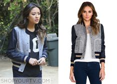 Pretty Little Liars: Season 5 Episode 2 Emily's Leather Sleeve Varsity Bomber Pretty Little Liars Seasons, Pretty Little Liars Fashion, Pll Outfits, Other Outfits, Aria Montgomery, Baseball Pants, Baseball Jackets, Varsity Jackets, Field Jacket