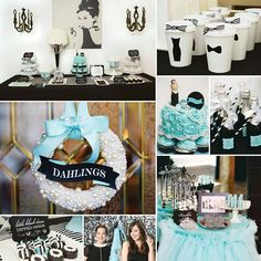 Breakfast at Tiffany party - bc filmed in the 50s. Easy to do black white and the Tiffany blue. Can have all the women wear black w pearls and sunglasses. I went to a shower once like this and it was awesome. But all women.